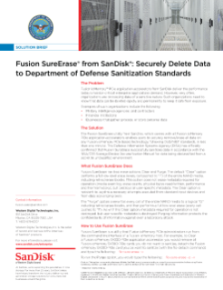 Fusion SureErase from SanDisk: Securely Delete Data to Department of Defense Sanitization Standards