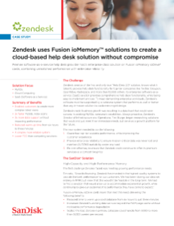 Zendesk Uses Fusion ioMemory Solutions to Create a Cloud-based Help Desk Solution Without Compromise